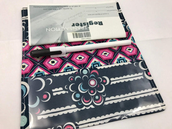 Striped Duplicate Checkbook Cover, Pink Check Book Wallet, Pen Holder, Black and White - EcoHip Custom Designs