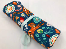 Load image into Gallery viewer, Tiger Jewelry Roll, Blue Travel Jewelry Case, Ring Holder, Soft Fabric Jewelry Bag - EcoHip Custom Designs