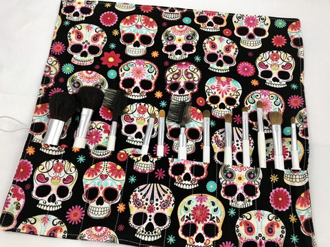Sugar Skull Makeup Brush Roll, Black Cosmetic Brush Holder, Travel Paint Brush Case - EcoHip Custom Designs