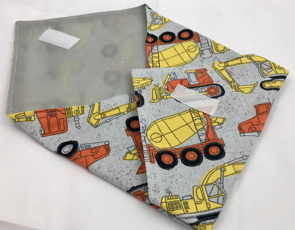 Gray Sandwich Bag, Construction Trucks Sandwich Mat, Dump Truck Lunch Bag - EcoHip Custom Designs