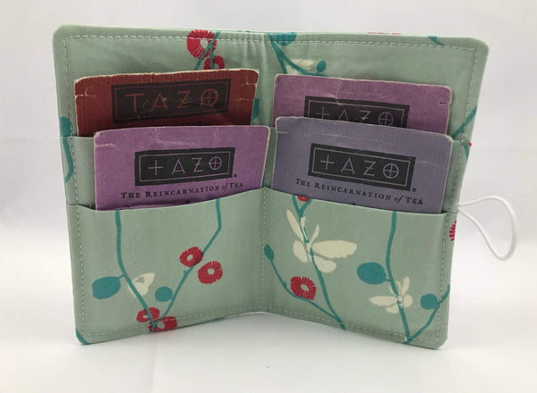 Butterfly Tea Caddy, Blue Floral Travel Teabag Case, Tea Bag Gift Wallet - EcoHip Custom Designs