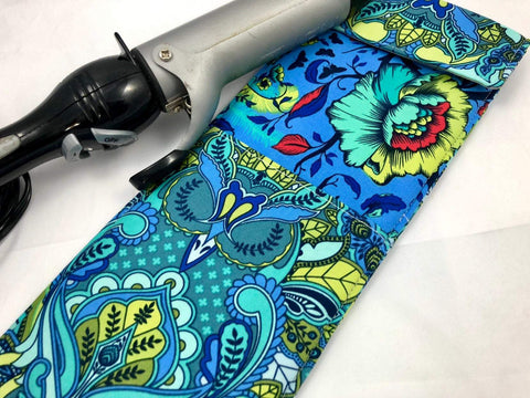 Blue Flat Iron Holder, Owl Curling Iron Cover, Travel Flat Iron Bag - EcoHip Custom Designs