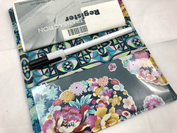 Gray Checkbook Cover, Teal Floral Duplicate Check Book, Pen Holder - EcoHip Custom Designs