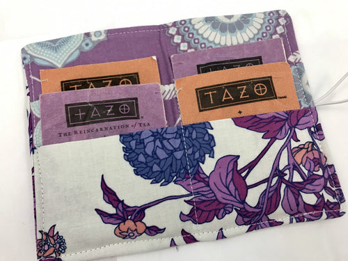 Berry Purple Tea Wallet, Travel Teabag Case, Women's Business Card Holder - EcoHip Custom Designs