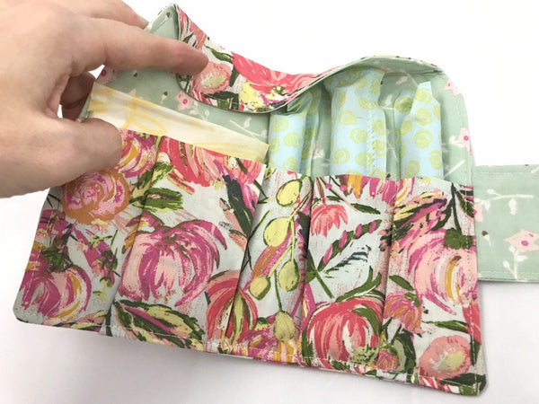 Pink Tampon Case, Green Floral Sanitary Pad Pouch, Time of the Month Holder - EcoHip Custom Designs