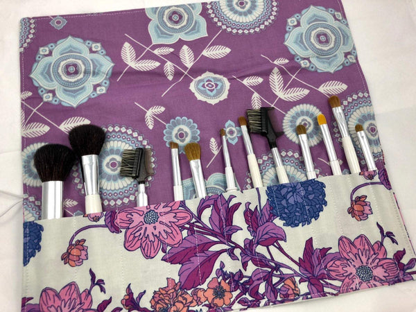 Purple Floral Makeup Brush Roll, Travel Make Up Brush Pouch, Paint Brush Organizer - EcoHip Custom Designs