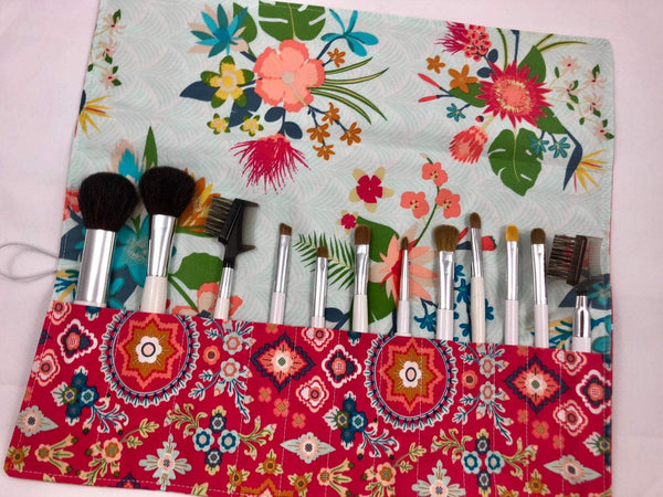 Red Makeup Brush Holder, Blue Cosmetic Brush Organizer, Brush Bag - EcoHip Custom Designs