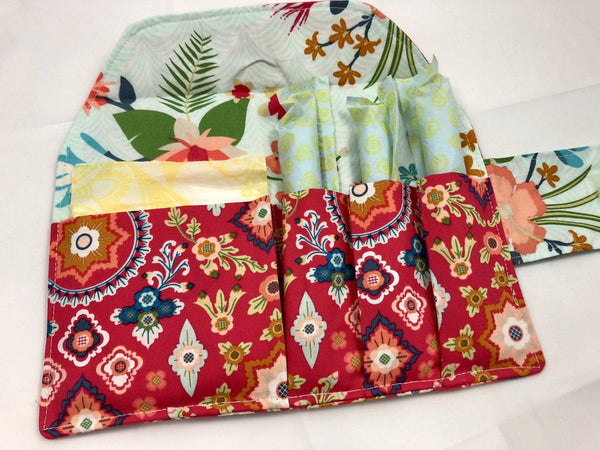 Red Tampon Case, Floral Sanitary Pad Holder, Time of the Month Clutch - EcoHip Custom Designs