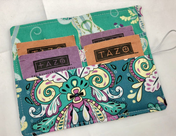 Green Tea Bag Wallet, Guitar Teabag Holder, Business Card Case for Purse - EcoHip Custom Designs