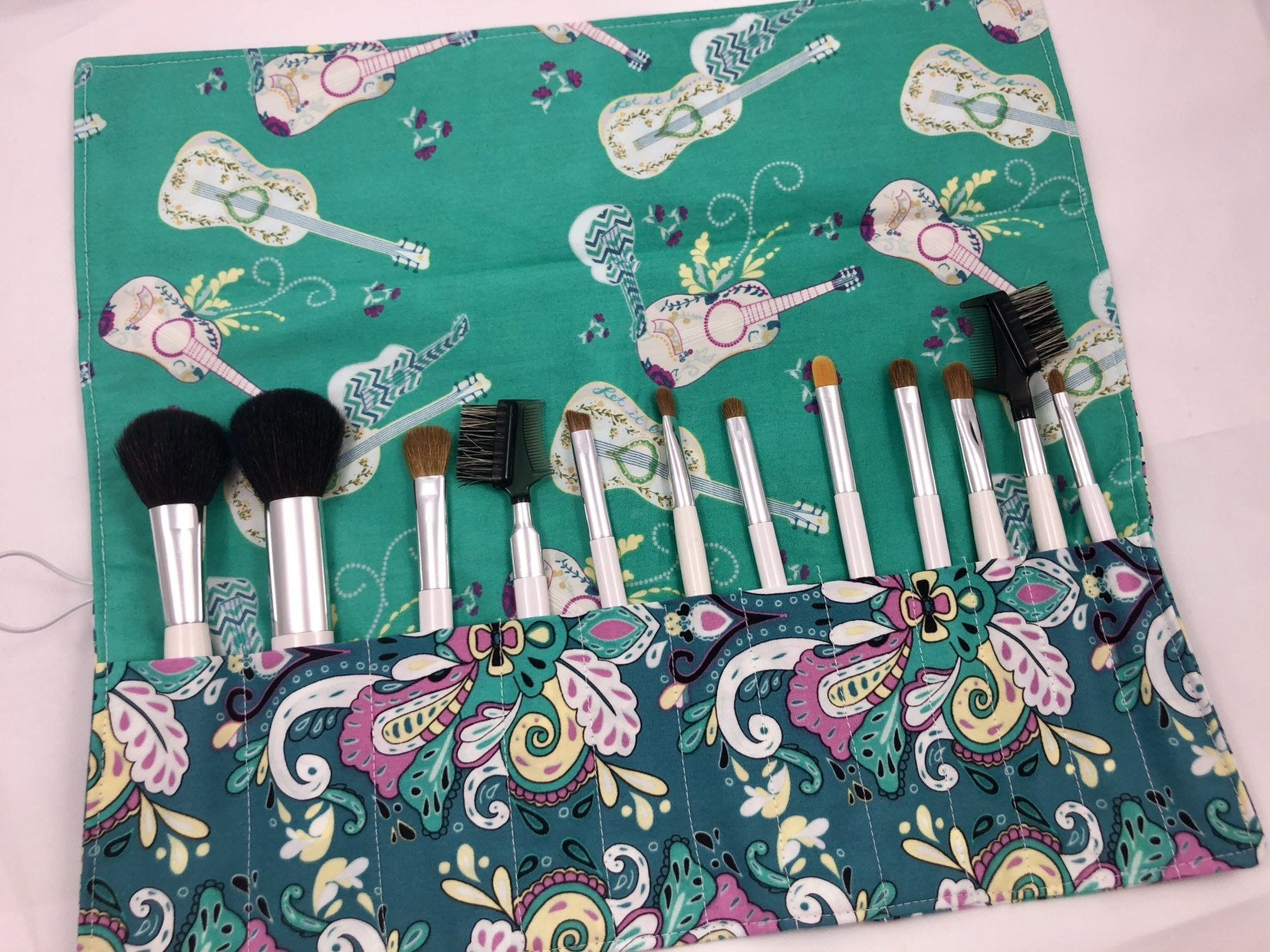 Green Makeup Brush Roll, Guitar Make Up Brush Holder Case - EcoHip Custom Designs