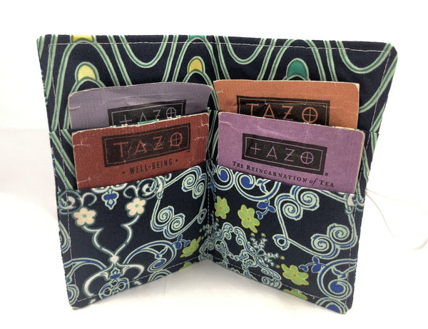 Navy Blue Tea Bag Case, Travel Teabag Cozy, Small Wallet for Purse - EcoHip Custom Designs