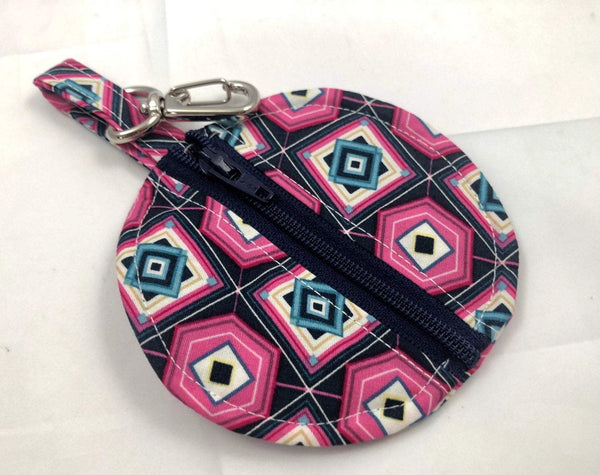 Black Pacifier Pouch, Pink Ear Pod Case, Small Zipper Coin Purse - EcoHip Custom Designs