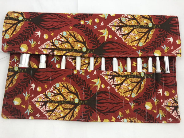 Tree of Life Makeup Brush Roll, Red Travel Cosmetic Brush Case Bag - EcoHip Custom Designs