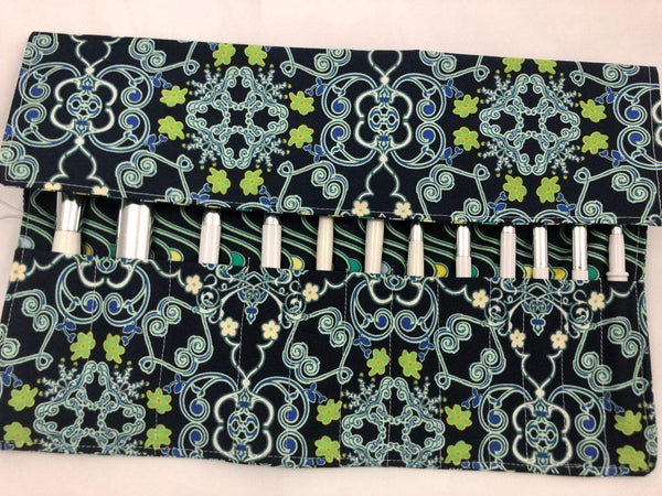 Blue Travel Makeup Brush Holder, Fabric Cosmetic Brush Bag, Artist Pencil Roll Up - EcoHip Custom Designs