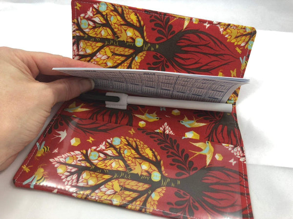 Tree of Life Checkbook Cover, Red Duplicate Check Book, Pen Holder - EcoHip Custom Designs