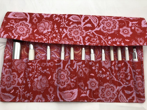 Pink Cosmetic Brush Roll, Butterfly Makeup Brush Case, Travel Bag - EcoHip Custom Designs