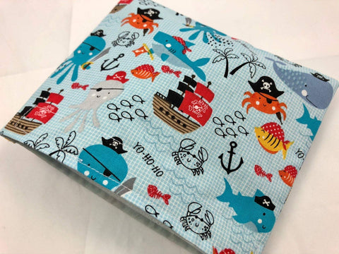 Pirate Snack Bag, Blue Nautical Snack Baggie, Reusable Snack Pouch for School - EcoHip Custom Designs