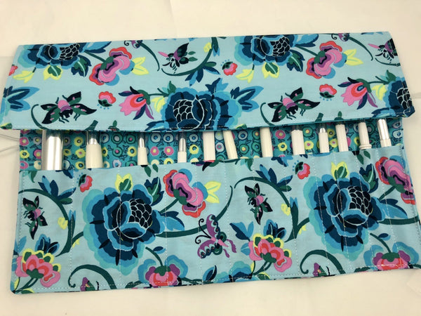 Blue Floral Makeup Brush Roll, Travel Cosmetic Brush Case, Polka Dots - EcoHip Custom Designs