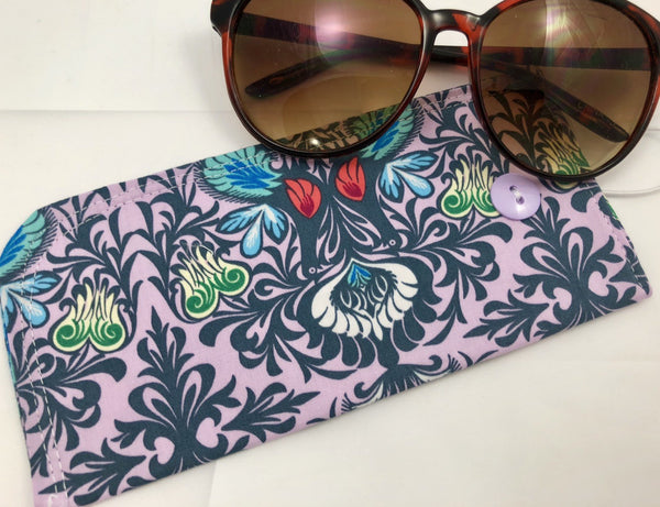 Lilac Purple Eye Glass Case, Lavender Sun Glasses Pouch, Padded Glasses Sleeve - EcoHip Custom Designs
