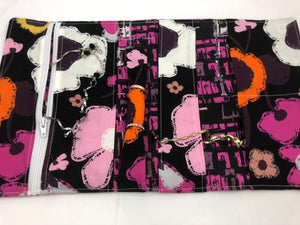 Black, Orange, Fuchsia, Travel Jewelry Case, Fabric Jewelry Organizer - EcoHip Custom Designs