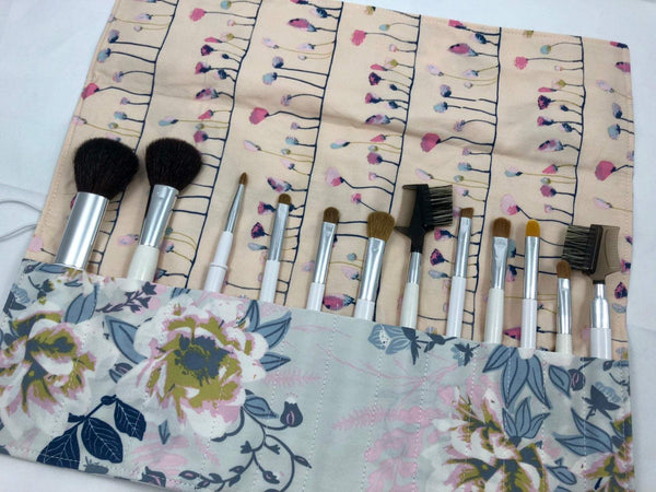 Blue Floral Makeup Brush Holder, Travel Cosmetic Brush Case, Paint Brush Roll - EcoHip Custom Designs