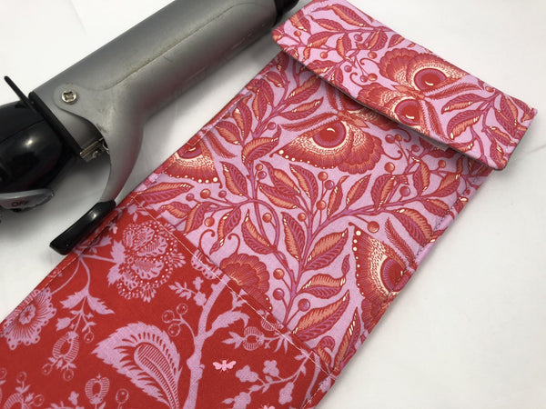 Butterfly Curling Iron Cover, Flat Iron Case, Pink Curling Iron Bag - EcoHip Custom Designs