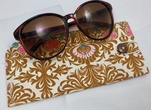 Beige Eye Glasses Sleeve, Tan Reading Glasses Pouch, Brown Sunglasses Holder - EcoHip Custom Designs