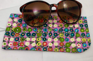 Pink Sunglass Cover, Padded Eye Glasses Pouch, Polka Dot Reading Glasses Sleeve - EcoHip Custom Designs