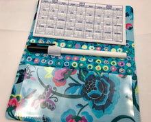 Load image into Gallery viewer, Butterfly Checkbook Cover, Blue Duplicate Checks, Pen Holder - EcoHip Custom Designs