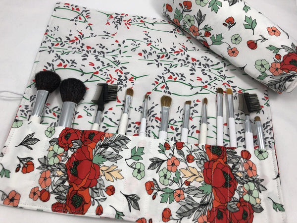Red Floral Cosmetic Brush Roll, Travel Makeup Brush Holder, Paint Brush Bag - EcoHip Custom Designs