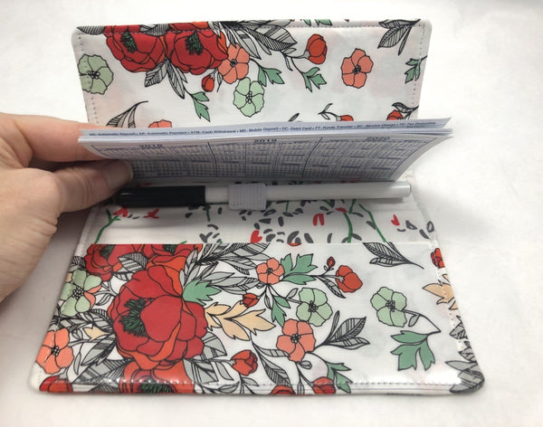 Red Checkbook Cover, Floral Duplicate Check Book, Women's Checkbook - EcoHip Custom Designs