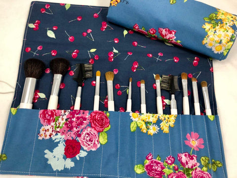 Gray Makeup Brush Case, Blue Make Up Brush Holder, Cosmetic Brush Bag - EcoHip Custom Designs