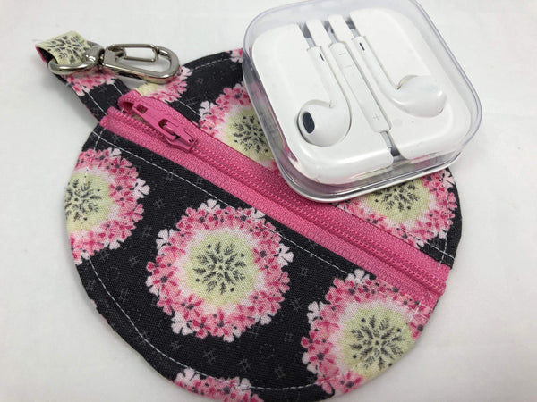 Pink Floral Ear Pods Case, Zipper Headphone Cozy, Pacifier Pouch - EcoHip Custom Designs