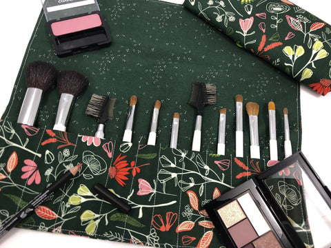 Green Makeup Brush Case, Travel Floral Make Up Brush Roll, Makeup Bag - EcoHip Custom Designs