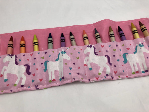 Pink Unicorn Crayon Roll, Hearts Crayon Case, Travel Toy for Girls - EcoHip Custom Designs