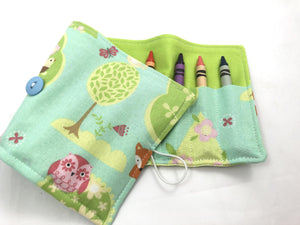 Owl Crayon Organizer, Green Animal Crayon Caddy, Blue Crayon Holder - EcoHip Custom Designs