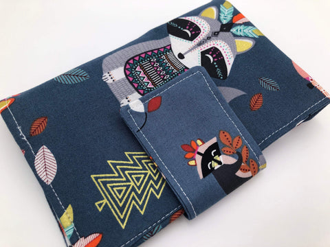 Gray Sanitary Pad Case, Women's Wallet, Tampon Case, Tampon Bag, Fox, Raccoon - EcoHip Custom Designs