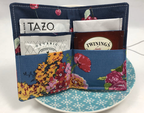 Slate Gray Tea Bag Holder, Floral Teabag Cozy Organizer for Travel - EcoHip Custom Designs