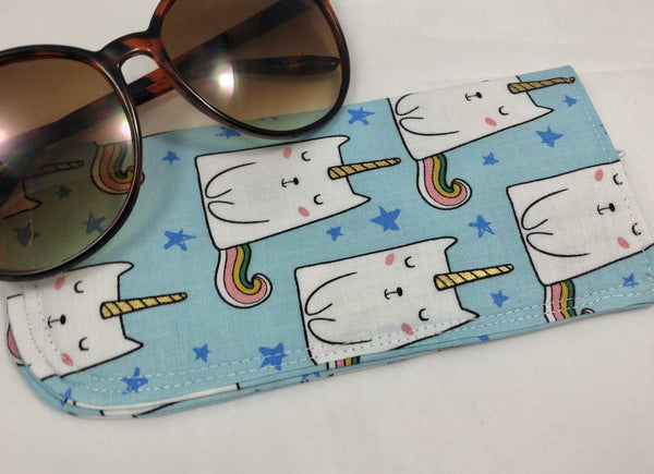 Caticorn Eyeglass Case, Blue Sunglass Sleeve, Soft Reading Glass Pouch - EcoHip Custom Designs
