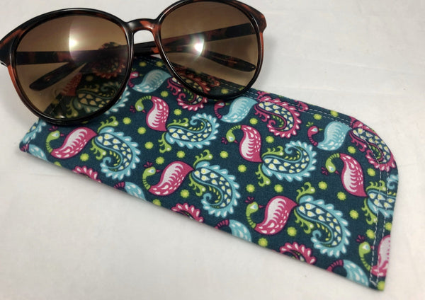 Soft Eyeglass Case, Green Reading Glasses Holder, Paisley Sun Glasses Sleeve - EcoHip Custom Designs