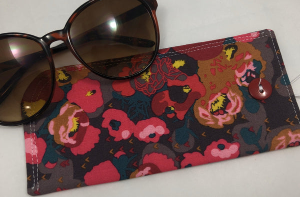 Red Peonies Reading Glasses Sleeve, Padded Sunglasses Case, Slip On Glass Pouch - EcoHip Custom Designs