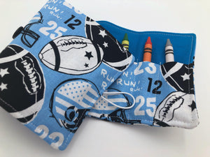Football Crayon Case, Blue Sports Crayon Organizer for Travel - EcoHip Custom Designs