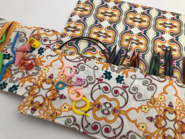 Cream Interchangeable Knitting Needle Case. Notions Storage. Crochet Hook Roll - EcoHip Custom Designs
