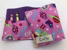Load image into Gallery viewer, Superhero Girls Crayon Rolls, Super Girls Crayon Organizer, Pink - EcoHip Custom Designs
