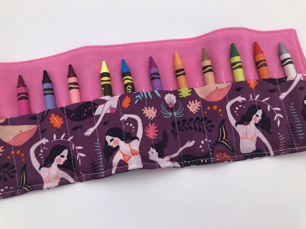 Mermaid Crayon Roll, Purple Crayon Case, Gir's Crayon Toy, Pink - EcoHip Custom Designs