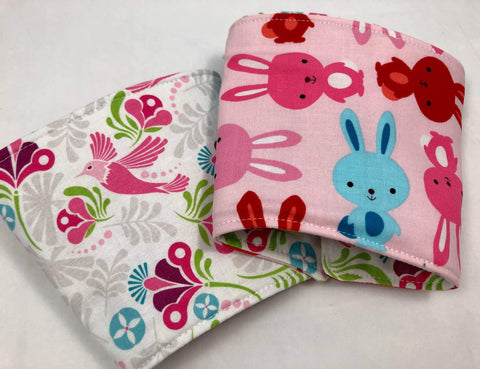 Bunny Rabbit Reversible Coffee Cozy, Pink Bird Hot Coffee Sleeve, Iced Coffee Cuff - EcoHip Custom Designs