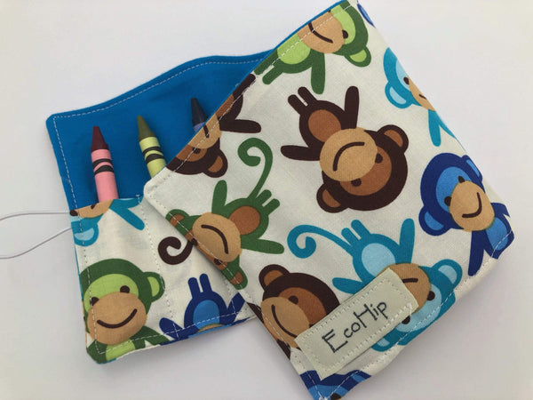 Monkey Crayon Case, Monkey Fabric Crayon Organizer, Animal Toy for Kids - EcoHip Custom Designs
