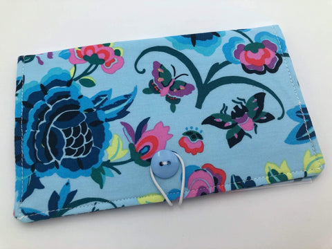 Butterfly Checkbook Cover, Blue Duplicate Checks, Pen Holder - EcoHip Custom Designs
