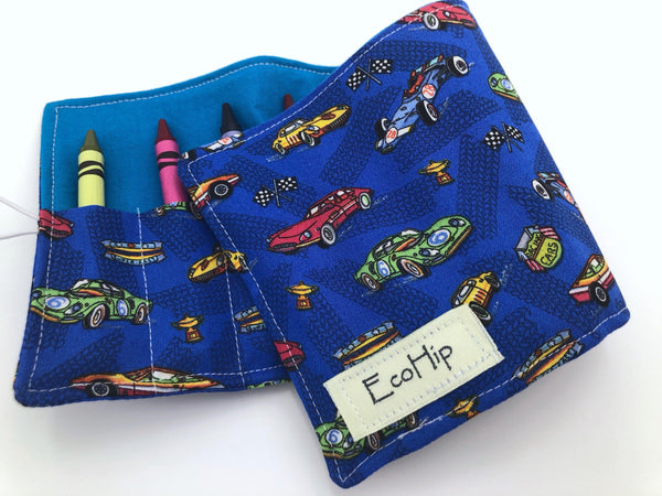 Race Car Crayon Roll, Sports Car Crayon Case, Travel Car Toy - EcoHip Custom Designs