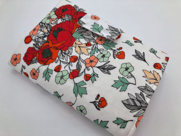 Red Interchangeable Knitting Needle Roll, Floral Crochet Hook Case, Notions Storage - EcoHip Custom Designs